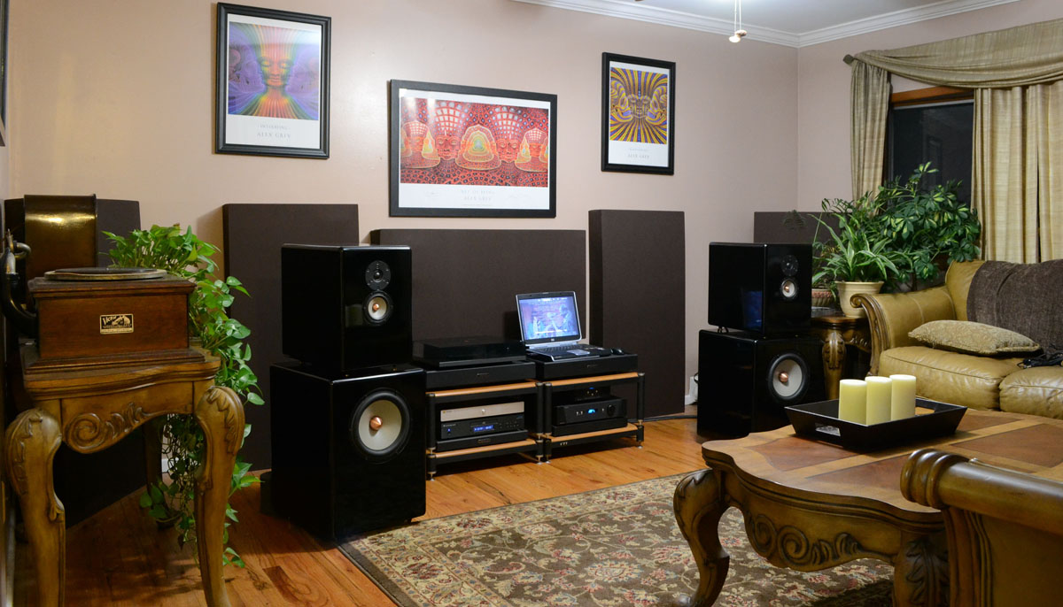 GIK Acoustics 244 bass traps in living  room