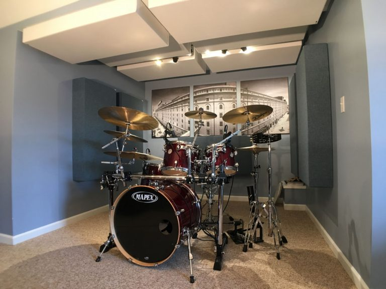 Recording drums acoustic panel placement GIK Acoustics 244 bass traps on the ceiling and monster traps in Michael Bell studio makes the drum kit sound tighter