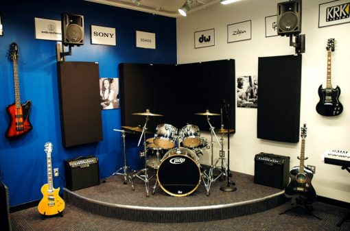 Bass Traps behind drumset