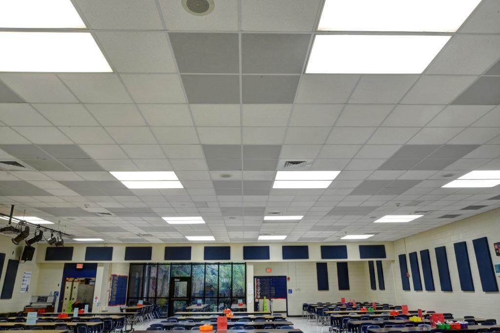 Gik Spot Panels High Point Elementary Cafeteria Ceiling Tiles Gik
