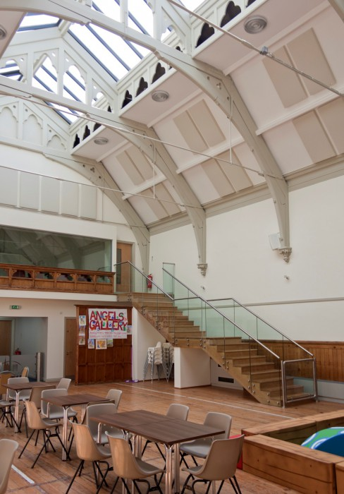 Church acoustics Christchurch Ilkley Riddings Hall with angled ceiling mounted acoustic panels, GIK 242 Acoustic Panels