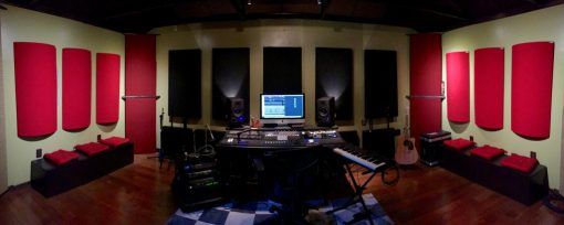 GIK Acoustics Bonzi Recording studio with PolyFusors sound diffusers in the studio