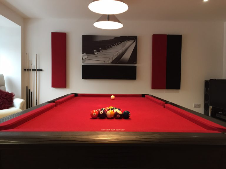 GIK Acoustics Art panel with piano keys in billiard room