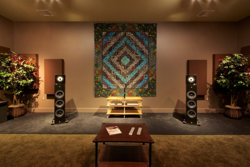 GIK Acoustics Overture Studio Straight on with acoustic panels behind speakers