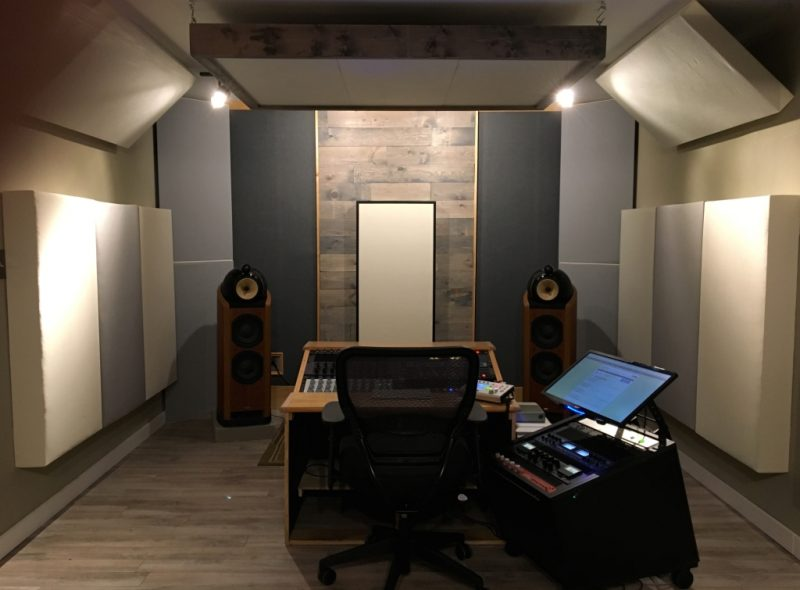 Recording Studio Acoustics ideas examples treating Sun Room Audio with GIK Acoustics monster bass traps and corner bass traps
