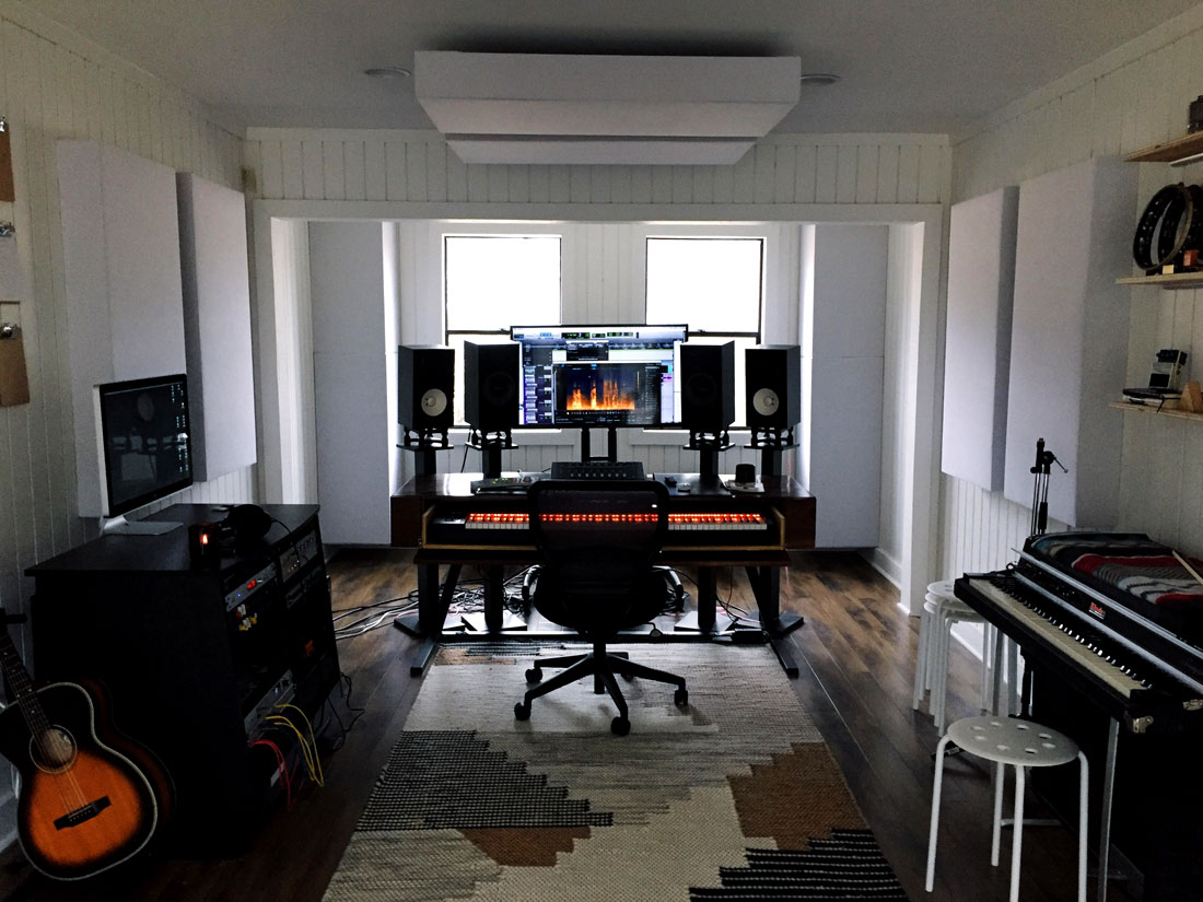 GIK Acoustics Bass Traps hanging from ceiling