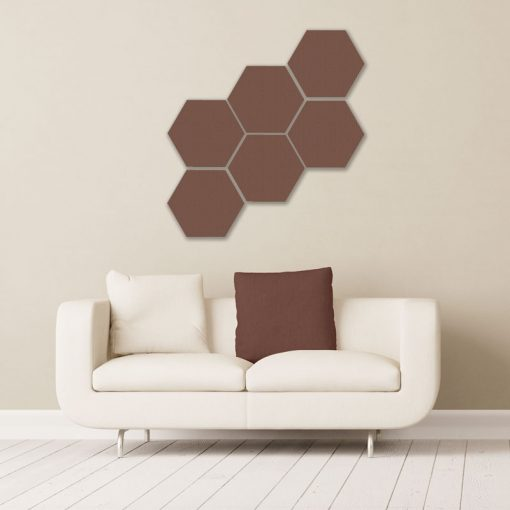 GIK ACoustics hexagon acoustic panel small coffee color above couch