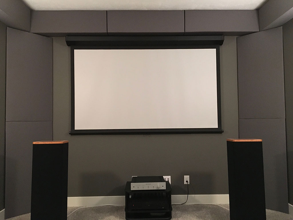 GIK Acoustics Soffit and bass traps in home theater straight on