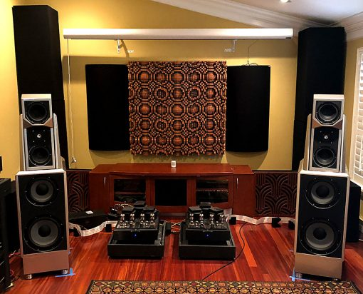 "GIK Acoustics Gotham N23 5"" Quadratic Diffusors on back wall of 2 channel listening room"