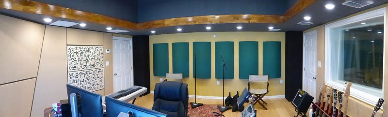 Recording Studio Acoustics design using GIK Acoustics hunter green PolyFusors and blonde Alpha 2Da's in Ed Driscoll's recording studio