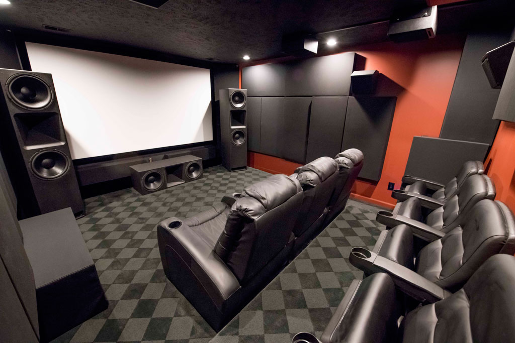 GIK Acoustics home theater with bass traps