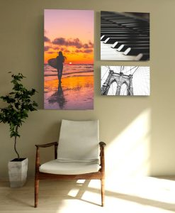 Acoustic art panels multiple sizes in residential or office setting