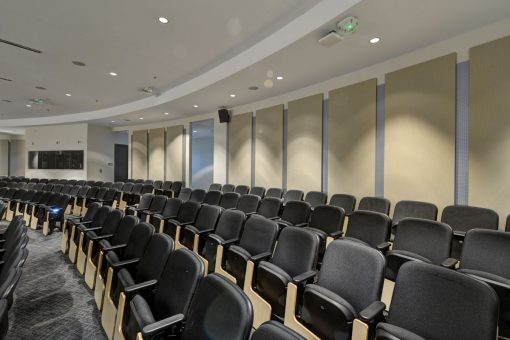 University Acoustics using acoustic panels in lecture halls to reduce echo